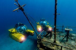 Se usaron submarinos burbuja de Triton para observar un naufragio en las Bahamas en el 2017. Foto/ Nick Verola/Triton.