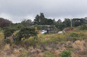 Lugar donde fue ubicado uno de los cadáveres en Alto Boquete. Foto: José Vásquez.