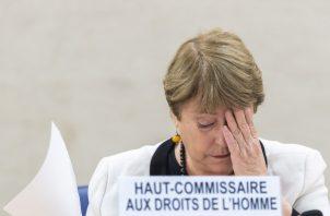 La alta comisionada de la ONU para los derechos humanos, Michelle Bachelet, presenta al Consejo de Derechos Humanos del organismo internacional información actualizada sobre la situación en Venezuela, este miércoles, en la sede de las Naciones Unidas en Ginebra (Suiza). FOTO/EFE