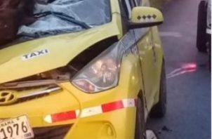 El conductor salió ileso del accidente donde el vehículo quedó prácticamente destruido por el equino. Foto/José vásquez