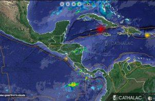 El terremoto ocurrió a diez kilómetros de profundidad del lecho marino entre la isla de Jamaica y Cuba. Foto: Sinaproc.