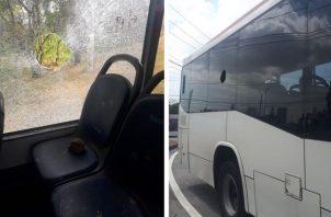 La mujer viajaba senatada en el puesto de la ventana cuando un piedra de considerable tamaño rompió el vidrio e hirió su cabeza. Foto: Mi Bus.