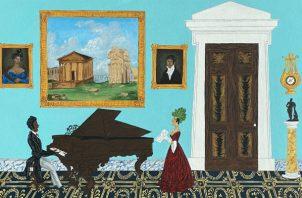 """Andrew LaMar Hopkins retrata el significativo papel de los criollos en la vida cívica de Nueva Orleans. """"Edmond Dédé Piano Recital"""" (2019) muestra al músico y compositor criollo libre en su elegante salón. Foto / Andrew LaMar Hopkins."""