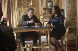 Sheyla Grajales, al momento de tomar posesión como ministra de Gobierno, cargo que solo ocupó por doce días. Archivo
