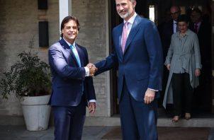 El  presidente de Uruguay, Luis Lacalle Pou, se reunió con el Rey Felipe VI de España. FOTO/EFE