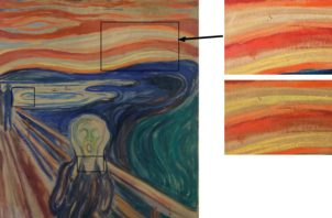 """Detalles de """"El Grito"""". Cómo luce la obra hoy (sup.) y cómo podría haber lucido. Foto / Munch Museum."""