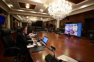 El Consejo de Gabinete sesionó ayer de manera virtual, teniendo al presidente Laurentino Cortizo como único asistente presencial en el Palacio de las Garzas. Cortesía