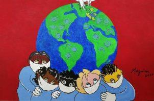 Linda Maquivar de Irigoyen, a través de su arte aboga por evitar consumismo, respetar la Tierra e insta a cumplir con las ordenanzas de salud de permanecer en casa en cuarentena para vencer al coronavirus. #Quedate en casa, #ProtétetePanamá. Foto: Facebook