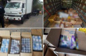 La Policía Nacional mantenía un retén de rutina en El Tecal, Arraiján, cuando se hizo la revisión del camión. Foto: Policía Nacional.