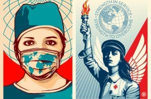 Artistas se unen para crear anuncios de servicio público que promueven la salud durante la pandemia. Foto ilustrativa / Thomas Wimberly para Amplifier; Shepard Fairey para Amplifier.