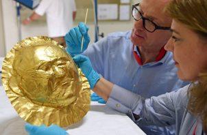 Las ciudades de la Edad de Bronce eran gobernadas por ricos aristócratas. Una máscara fúnebre de oro de Micenas. Foto / Uli Deck/DPA, vía Agence France-Presse — Getty Images.