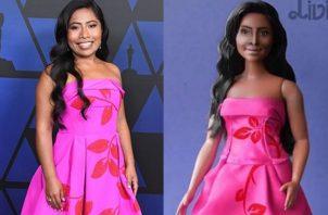 Yalitza Aparicio y la 'barbie'. Foto: Instagram