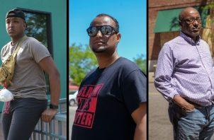 Wali Ibrahim, Haji Yussuf y Omer Jamal huyeron de la anarquía en su país natal. Foto / Laylah Amatullah Barrayn para The New York Times.