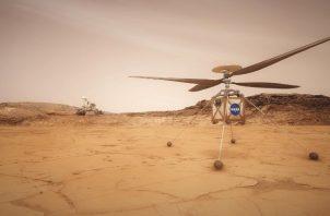 Una ilustración del helicóptero de la NASA en Marte, que se anticipa haga cinco vuelos en 30 días. Foto / JPL-Caltech/NASA.