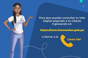 Las personas pueden verificar el saldo de su vale digital al llamar al 140 o contactando a la ayuda virtual S.A.R.A.