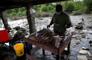 La mayoría de las familias del barrio viven de la pesca artesanal. Foto: EFE