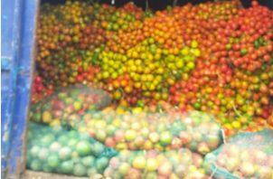 En Guabala, Tolé, un camión llevaba sacos de banano. Fotos: José Vásquez.