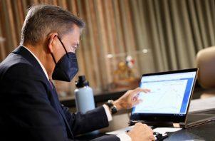 El presidente de la República, Laurentino Cortizo, durante la reunión virtual del Consejo de Gabinete. Foto cortesía @presidenciapma