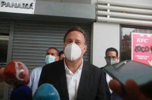 Juan Carlos Varela, ayer durante su comparecencia ante la Fiscalía Especial Anticorrupción. Víctor Arosemena