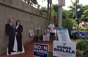 El promedio de encuestas que elabora RealClearPolitics muestra este jueves a Biden con una ventaja del 7.5%, pero en Florida se recorta a un 2.1%. Foto: EFE