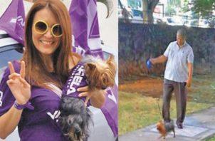 Exministra Zulema Sucre junto a su perro Gucci.