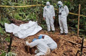 La fosa clandestina fue ubicada el pasado 14 de septiembre en la Comarca Ngäbe Buglé.