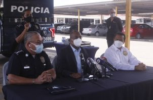 Conferencia de prensa realizada ayer en la sede de la Policía Nacional.