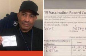 El panameño Nestor Flores, ya cuenta con un documento que lo certifica para recibir la vacuna.
