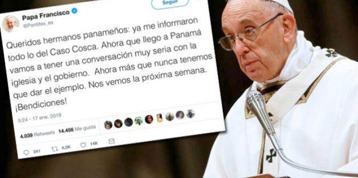 El sarcástico tuit del papa Francisco sobre el caso del padre David Cosca. Foto: Panamá América.