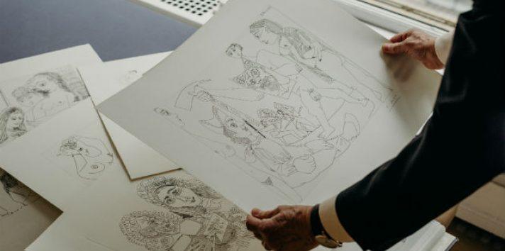 Las litografías falsas son difíciles de detectar por avances en técnicas de reproducción. Litografía real de Picasso. Foto / Kyle Johnson para The New York Times.