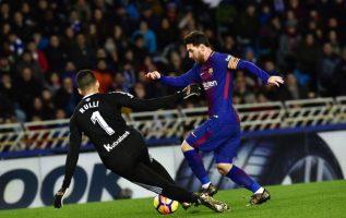 Messi durante el partido contra la Real Sociedad. Foto AP