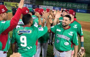 Jugadores de Chiriquí celebran su triunfo ante Bocas del Toro. Foto:Fedebeis