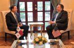 El Secretario de Estado de EE.UU se reunió con el presidente Juan Carlos Varela en la presidencia de la República. Foto: Cancillería de Panamá.