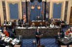 el representante de la acusación de la Cámara de Representantes, Adam Schiff, demócrata de California, habla durante el juicio de acusación contra el presidente Donald Trump en el Senado en el Capitolio de los Estados Unidos en Washington. FOTO/AP